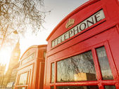 Telephone boxes and the Clock Tower in London — Stock Photo