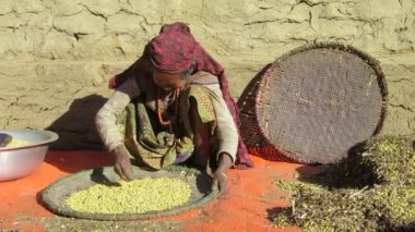 Old Nepalese lady sifting chickpeas — Stock Video