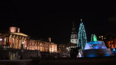 Christmas tree on Trafalgar Square in London — Stockvideo