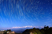 Star trails over Bandipur, Nepal — Stock Photo