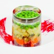 Creative salad of boiled vegetables and green peas — Stock Photo