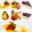 Set of restaurant dishes or Collage of restaurant dishes (desser — Stock Photo