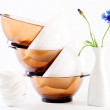 Stock Photo: Pure white and brown dish, vase with blue flower