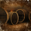 Stock Photo: Wine cellar with old oak barrels in vintage style