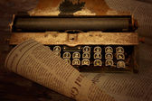 The composition of the background on an old typewriter a sheet o — Stok fotoğraf