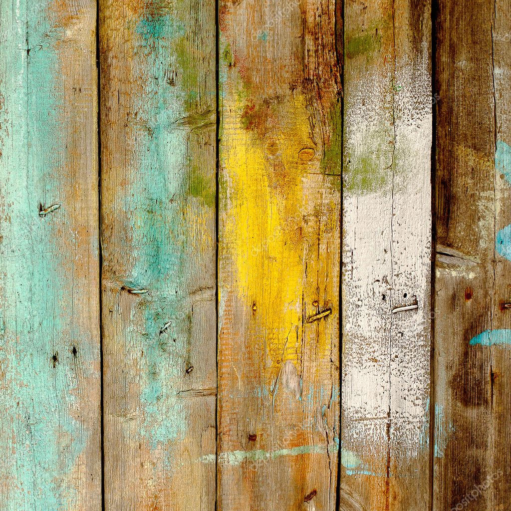 Background Old Wooden Fence Painted In Different Colors