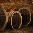 Wine cellar with old oak barrels in vintage style — Stock Photo #21051719