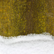 Snow on an old wooden fence, christmas background - Stock Photo