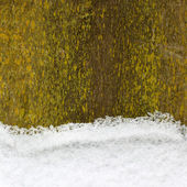 Snow on an old wooden fence, christmas background — Stock Photo