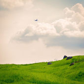 Rolling green fields and sky — Stock Photo