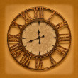 The old clock on the grunge background. Time stopped — Stock Photo
