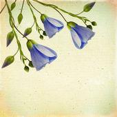 Ročník květinové pozadí s květinami na hnědé plátěné poz — Stock fotografie