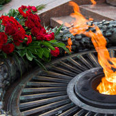 Laying flowers at the quenchless flame dedicated to victory Worl — Stock Photo
