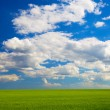Stock Photo: Beautiful landscape. green field and clouds