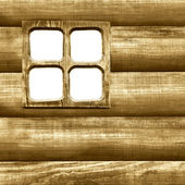 Background wooden wall of house with window — Stock Photo