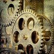 Stock Photo: Vintage gloomy background of old clock mechanism