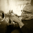 Stock Photo: ODESSA, UKRAINE - JUNE 5: trumpeter Roberto Garci(Cuba, Havana