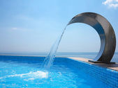 The Black Sea coast. Poolside with beautiful sea view — Stock Photo