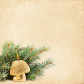 New Year's Arrangement burning candle and fir branches — Foto Stock