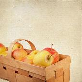 Ripe apples in a wicker basket. — Stock Photo