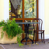 A lone table and chair in the autumn cafe — Stockfoto