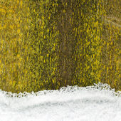 Snow on an old wooden fence, background — Stock Photo
