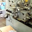 Old metal working lathe, made in the middle of the last century, — Stock Photo