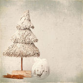 Christmas tree and baubles on old background — Stock Photo