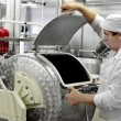 Worker on a milk factory — Stockfoto