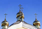 Golden domes and crosses Christian Orthodox Cathedral. Odessa, U — Stock Photo