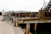 ODESSA April 15: Old river trading port Ust-Danube. Mooring pont — Stock Photo