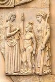 Stone facade fresco decoration scenes from ancient Greek myths — Foto de Stock