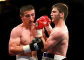 Odessa, Ukraine - May 31, 2014: In the boxing ring Umar Salamjv  — Stock Photo