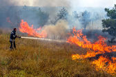 Odessa, Ukraine - August 4, 2012: Severe drought. Fires destroy — Stock Photo