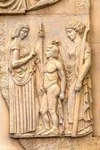 Stone facade fresco decoration scenes from ancient Greek myths — Stock Photo