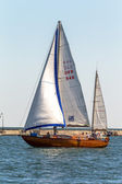 Odessa, Ukraine - May 28, 2011: Sailing yacht out in the coastal — Stockfoto