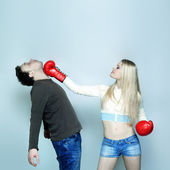 Beautiful Funny couple expressive fighting — Stock Photo