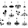 Stock Vector: Set of vector chandelier silhouettes