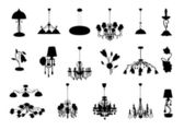 The set of vector chandelier silhouettes — Stock Vector