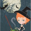 Cute Halloween witch — Stock Vector #3452689