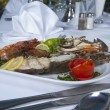 Seafood meal in an a la carte restaurant — Stok fotoğraf