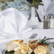 Fish and spinach a la carte meal — Stock Photo