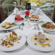 Three course meals in an a la carte restaurant — Стоковая фотография