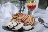 Sponge roll dessert in a la carte restaurant — Stock Photo