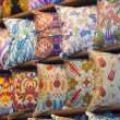 Cushion display at a market stall — Stockfoto