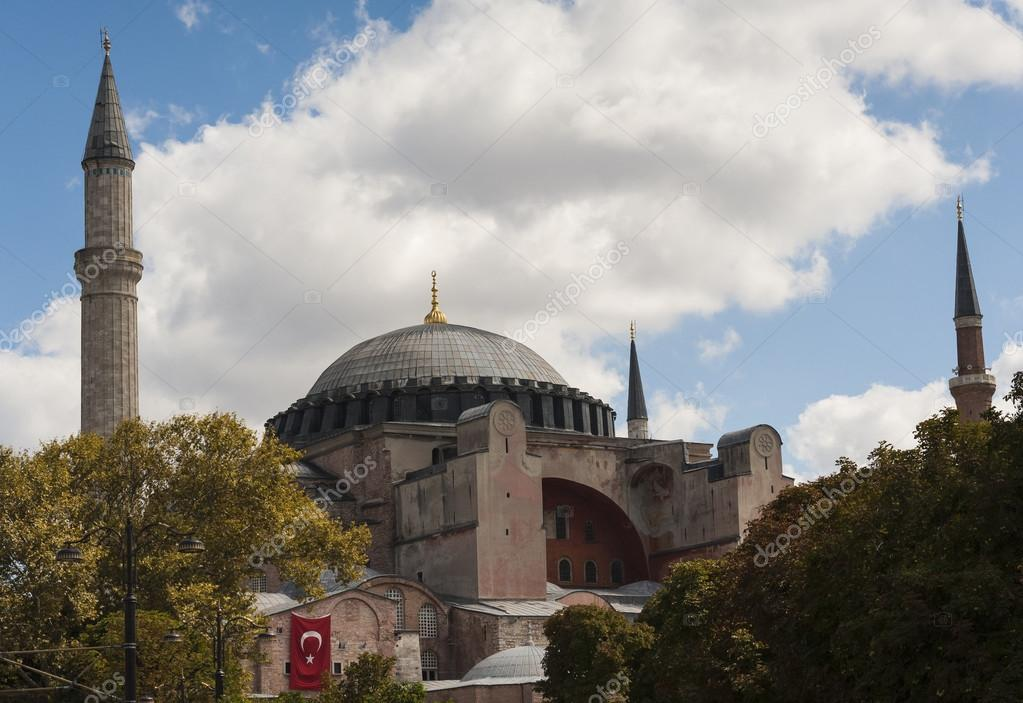 View of the famous Hagia Sophia museum in the Sultanahmet district of Istanbul Turkey — Stock Photo #13405620