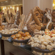 Bread display at a hotel buffet — Stock Photo