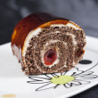 Chocolate sponge roll dessert — Stock Photo