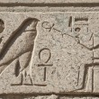 Egyptian hieroglyphic carvings on wall — Foto Stock