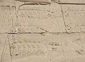 Egyptian hieroglyphic carvings on wall — Stock Photo
